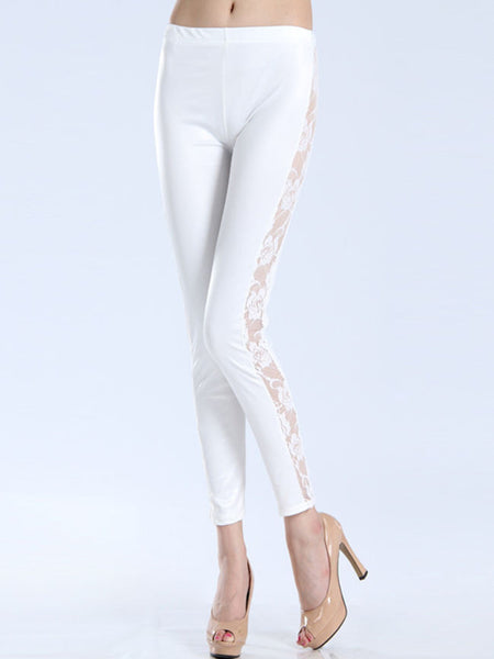 Hot Patchwork Hollow Out Plain Mid-Rise Legging - Bychicstyle.com