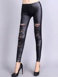 ByChicStyle Patchwork Leopard Faux Leather Low-Rise Legging - Bychicstyle.com