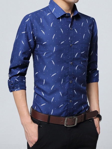 Classic Refined Turn Down Collar Printed Men Shirt - Bychicstyle.com
