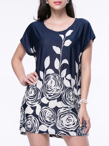 Casual Loose Floral Printed Short Sleeve Shift Dress - Bychicstyle.com