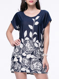 ByChicStyle Casual Loose Floral Printed Short Sleeve Shift Dress - Bychicstyle.com