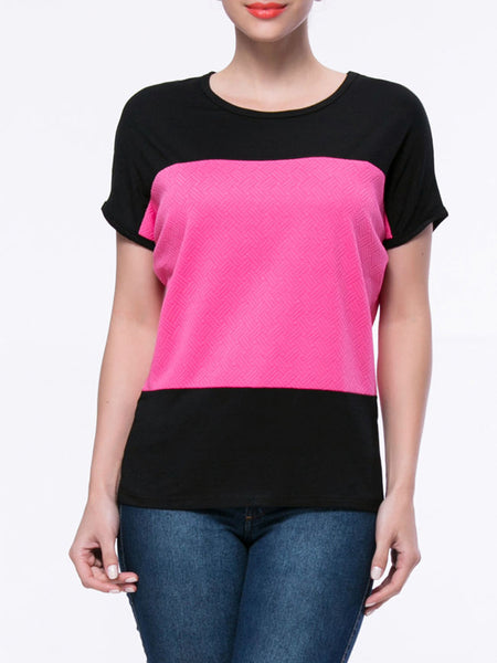 Brief Style Color Block Round Neck Short Sleeve T-Shirt - Bychicstyle.com