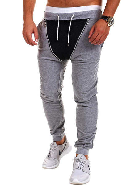 Casual Zips Color Block Pegged Men's Casual Pant