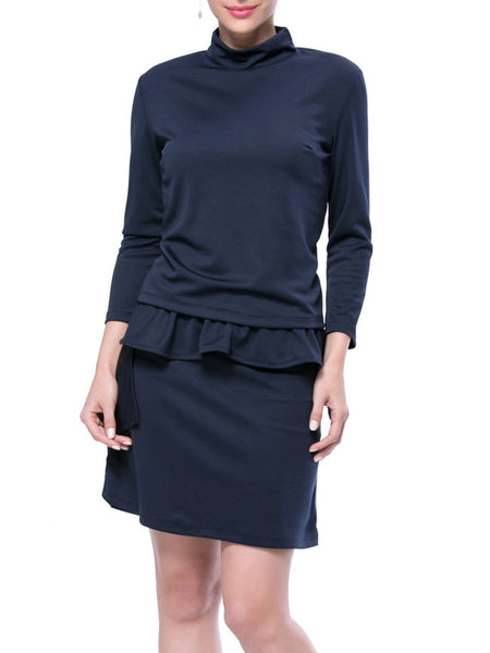 Solid High Neck Long Sleeve T-Shirt And Peplum Skirt - Bychicstyle.com