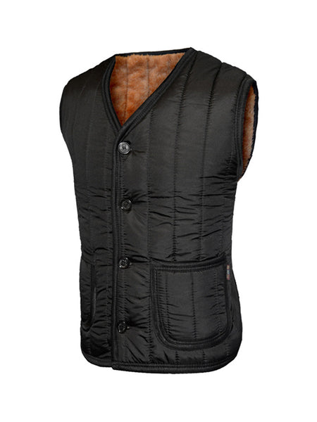 Casual Basic Warm Fleece Lined Quilted Plain Waistcoat With Patch Pocket