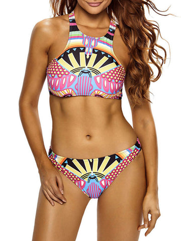 Colorful Printed Racerback Swimwear - Bychicstyle.com