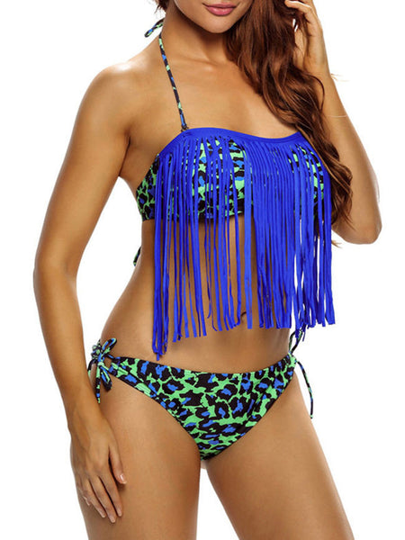 Casual Designed Fringe Leopard Halter Backless Bikini
