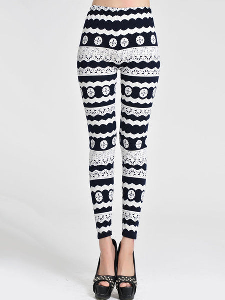 Black White Striped Printed Mid-Rise Legging - Bychicstyle.com