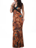 ByChicStyle Mermaid Deep V-Neck Plus Size Maxi Dress In Feather Floral Printed - Bychicstyle.com
