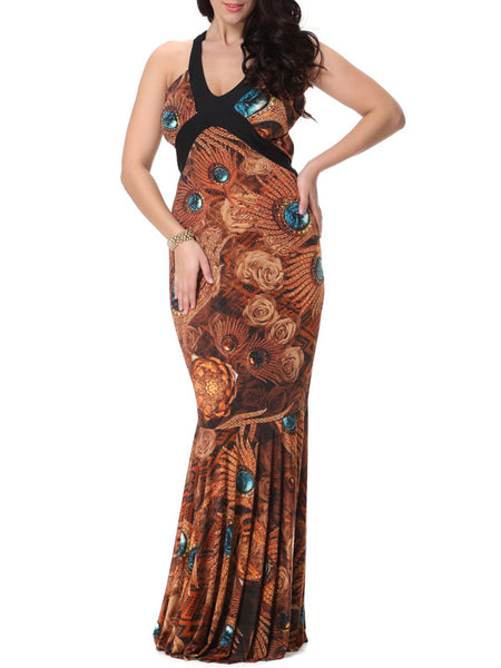 Mermaid Deep V-Neck Plus Size Maxi Dress In Feather Floral Printed - Bychicstyle.com