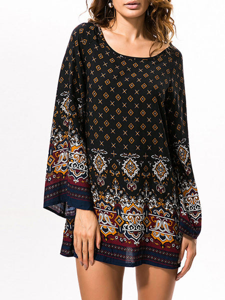 Loose Fabulous Tribal Printed Round Neck Shift Dress - Bychicstyle.com