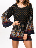 ByChicStyle Loose Fabulous Tribal Printed Round Neck Shift Dress - Bychicstyle.com