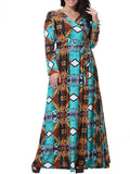 ByChicStyle Fabulous Slit V-Neck Tribal Printed Plus Size Maxi Dress - Bychicstyle.com