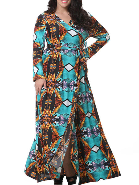 Fabulous Slit V-Neck Tribal Printed Plus Size Maxi Dress - Bychicstyle.com