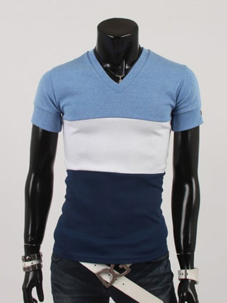 Casual Basic Fitted V-Neck Color Block Striped T-Shirt
