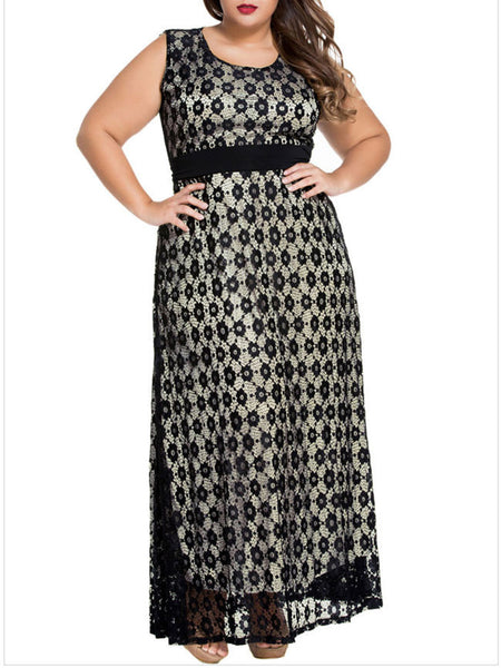 Gorgeous Hollow Out Lace Round Neck Plus Size Maxi Dress - Bychicstyle.com