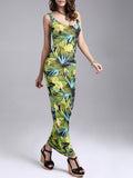 ByChicStyle Casual Tropical Scoop Neck Maxi Dress In Leaf Printed