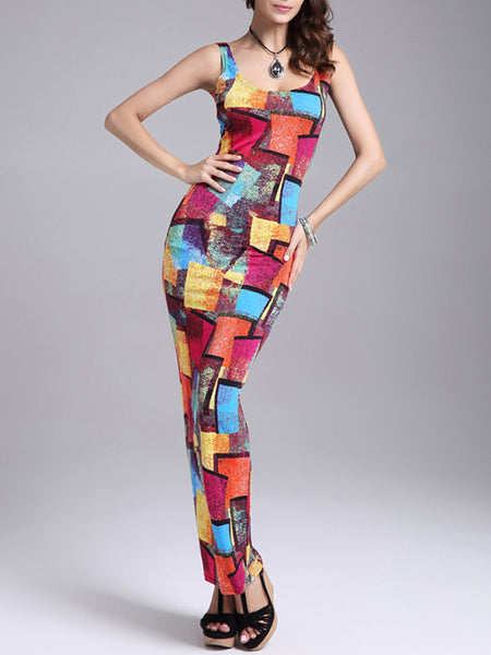 Color Block Scoop Neck Sleeveless Maxi Dress - Bychicstyle.com