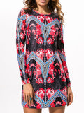 ByChicStyle Round Neck Tribal Printed Shift Dress With Long Sleeve - Bychicstyle.com