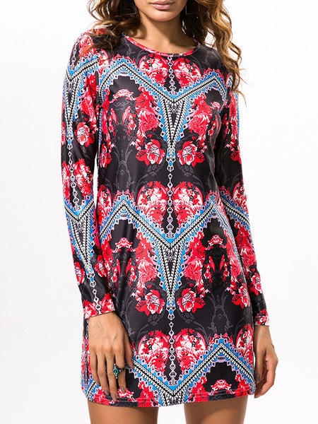 Round Neck Tribal Printed Shift Dress With Long Sleeve - Bychicstyle.com