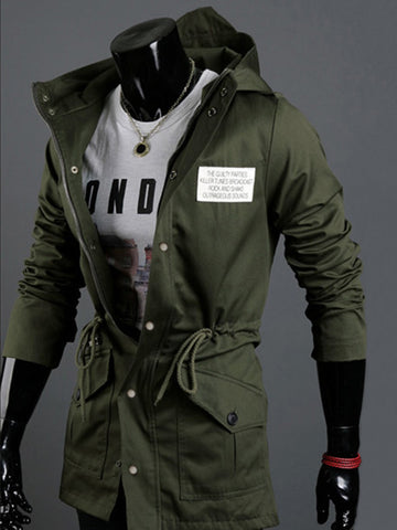 Classical Hooded Drawstring Plain Men Coat With Flap Pocket - Bychicstyle.com