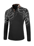 ByChicStyle Casual Attractive Long Sleeve Polo Collar Floral Printed T-Shirt