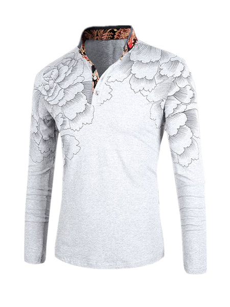 Casual Attractive Long Sleeve Polo Collar Floral Printed T-Shirt