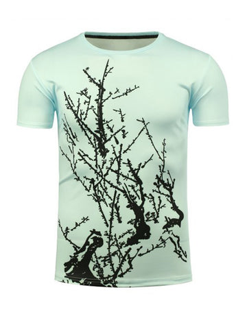 Round Neck 3D Tree Branch Printed T-Shirt - Bychicstyle.com