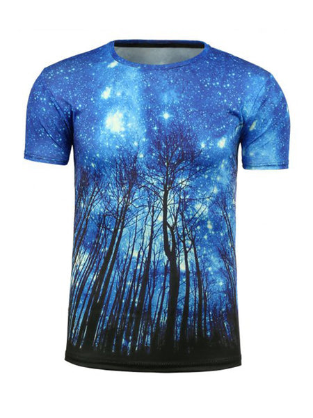 Starry Trees Printed Crew Neck T-Shirt - Bychicstyle.com