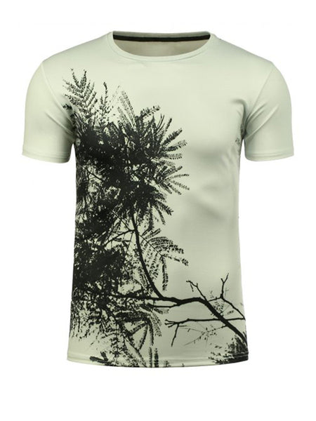 Casual Round Neck 3D Tree Pattern T-Shirt - Bychicstyle.com