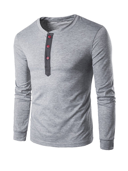 Long Sleeve Henley Collar T-Shirt With Contrast Button - Bychicstyle.com