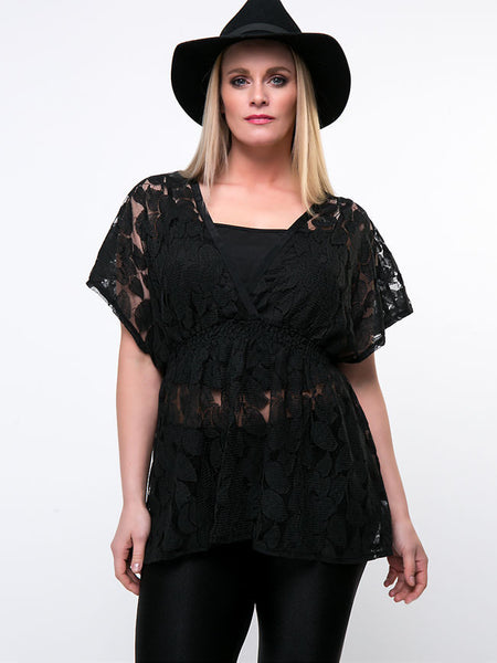 Hollow Out Plain Lace Plus Size Blouse With Camisole - Bychicstyle.com