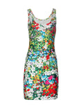 ByChicStyle Casual Allover Floral Printed Sleeveless Round Neck Bodycon Dress