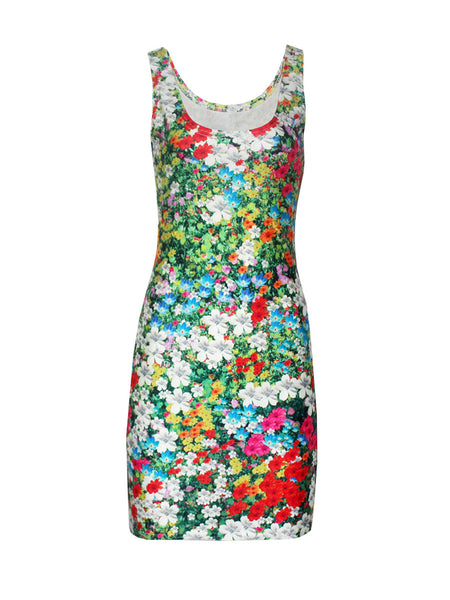 Casual Allover Floral Printed Sleeveless Round Neck Bodycon Dress
