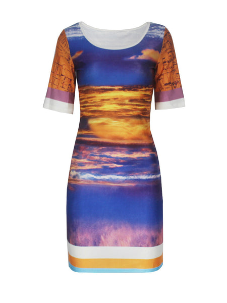Round Neck Printed Bodycon Dress With Short Sleeve - Bychicstyle.com
