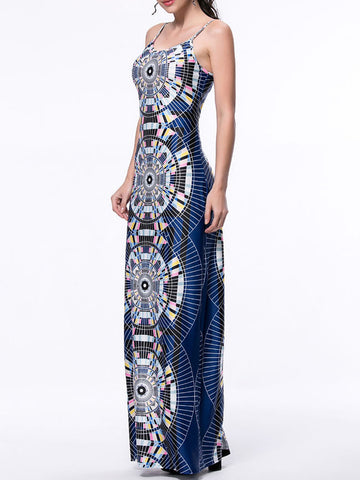 Unique Designed Printed Spaghetti Strap Maxi Dress - Bychicstyle.com