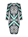 ByChicStyle Fantastic Style Round Neck Printed Bodycon Dress - Bychicstyle.com