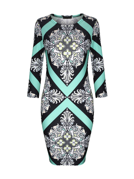Fantastic Style Round Neck Printed Bodycon Dress - Bychicstyle.com