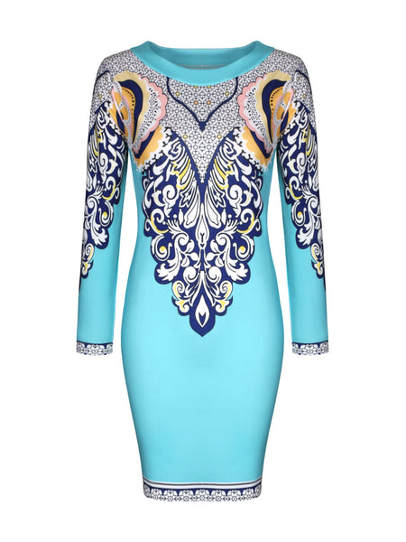 Long Sleeve Round Neck Glamorous Printed Bodycon Dress - Bychicstyle.com