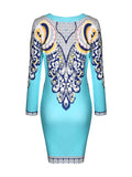 ByChicStyle Long Sleeve Round Neck Glamorous Printed Bodycon Dress - Bychicstyle.com
