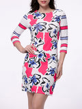 ByChicStyle Endearing Floral Printed Striped Bodycon Dress - Bychicstyle.com