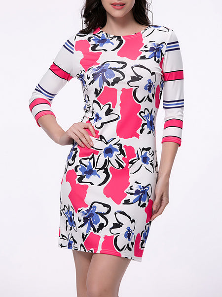 Endearing Floral Printed Striped Bodycon Dress - Bychicstyle.com