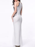 ByChicStyle Mermaid Side Slit Shimmering Powder Maxi Dress - Bychicstyle.com
