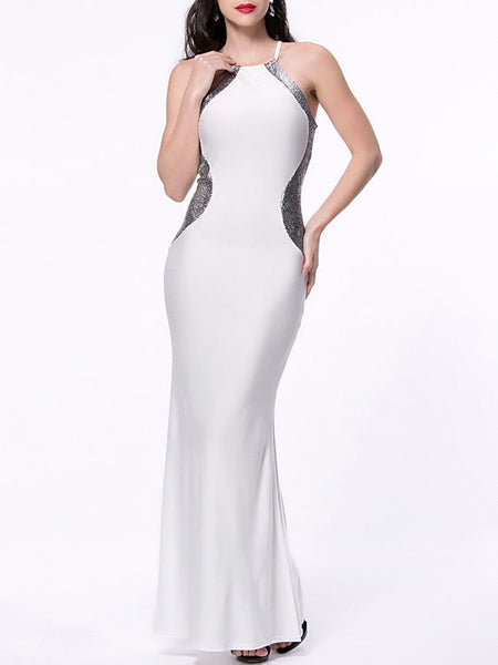 Mermaid Side Slit Shimmering Powder Maxi Dress - Bychicstyle.com
