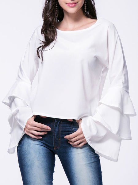 Solid Tiered Bell Sleeve Round Neck Blouse - Bychicstyle.com