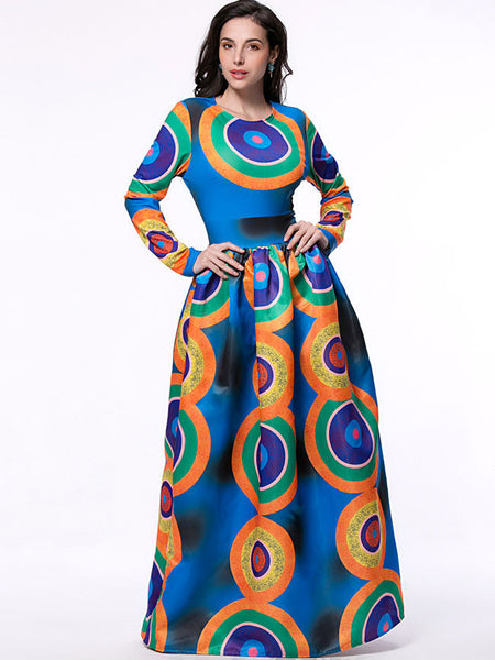 Color Block Circle Round Neck Maxi Dress - Bychicstyle.com