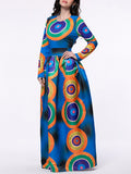 ByChicStyle Color Block Circle Round Neck Maxi Dress - Bychicstyle.com