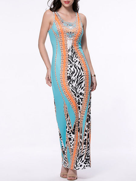 Sleeveless Round Neck Maxi Dress In Animal Printed - Bychicstyle.com