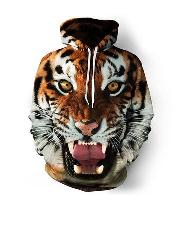 Trendy Tiger Printed Kangaroo Pocket Men Hoodie - Bychicstyle.com
