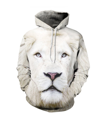 Cool Lion Printed Kangaroo Pocket Men Hoodie - Bychicstyle.com